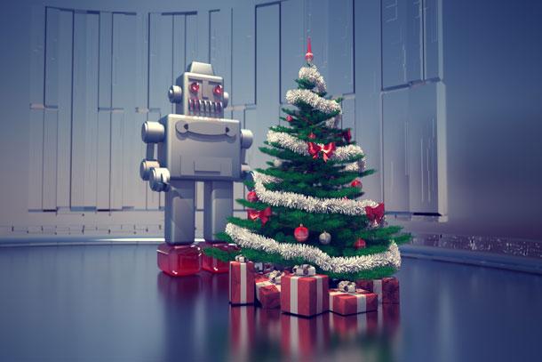Roboter am Weihnachtsbaum